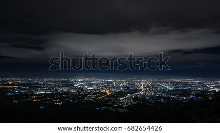Doi Suthep Chiangmai night view before the rain