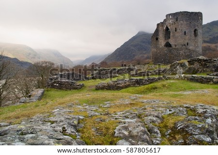 Dolbadarn ruins of castle on the foot of Snowdon mountain in Gwynedd county, Snowdonia national park, Wales UK