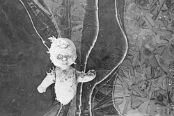 doll broken horror, winter frost ice, background fear abandoned lost child