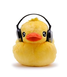 Doll duck with earphone on white background