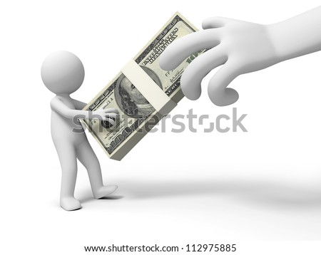 Dollar/a big hand robbing a person�s dollars