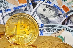 Dollar and bitcoin. Photo Bitcoins close-up (new virtual money ) .Conceptual photo.
