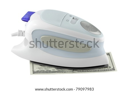 dollar and electric iron isolated on a white background