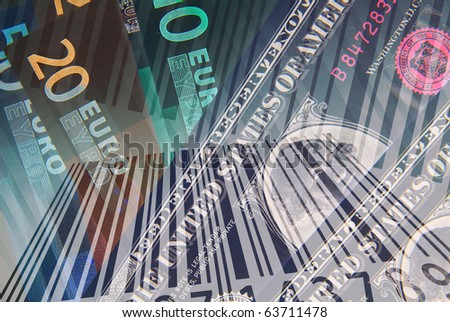 Dollar and Euro banknotes overlaid with barcode abstract