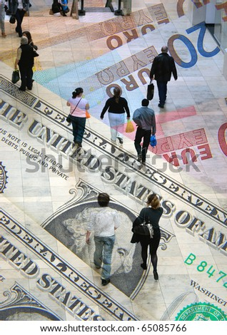 Dollar and Euro banknotes overlaid with shoppers