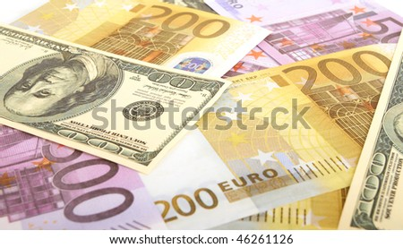 Dollar and euro bills background