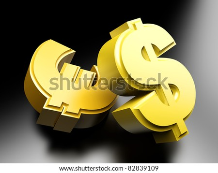 Dollar and Euro money symbols. 3D rendered Illustration.