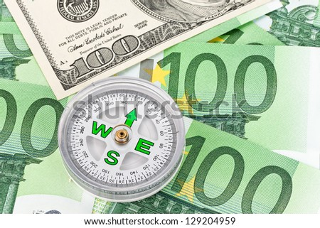 dollar and euro notes. symbol differences dollar euro