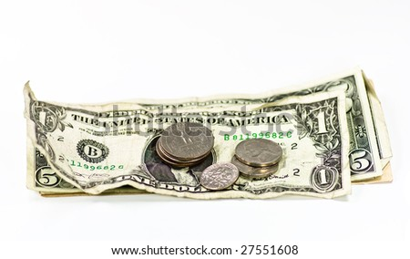 dollar bank note and coins on white background