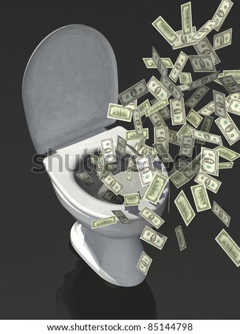 dollar banknote in the toilet
