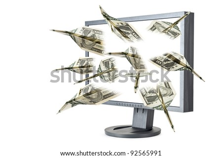 dollar banknotes flying out screen monitor - stock photo