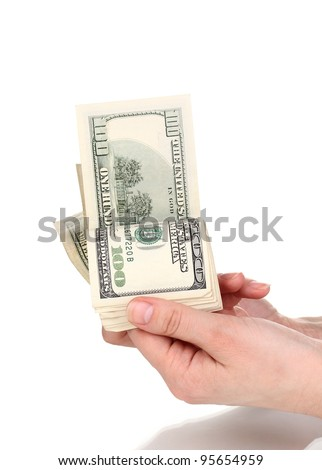 Dollar banknotes in hands isolated on white