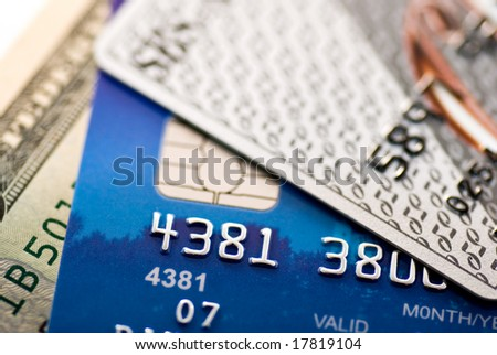 Dollar bill and some credit cards