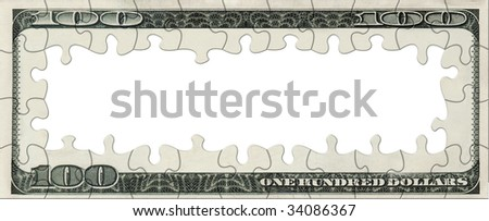 Dollar bill empty puzzle frame