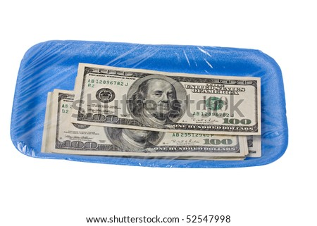 dollar bill on styrofoam tray