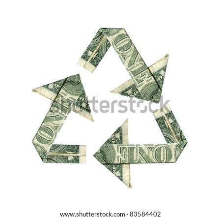 Dollar bill recycle symbol isolated on white