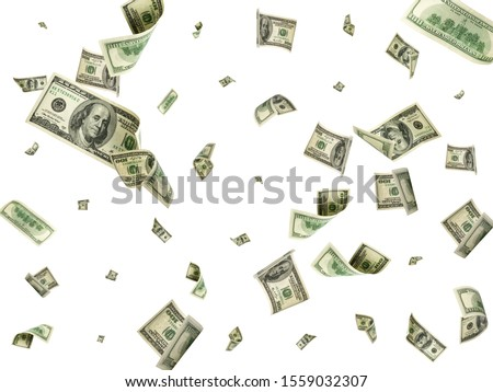 Dollar bill. Washington american cash. Usd money background. Money falling. Foto d'archivio ©