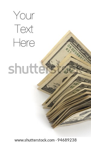 Dollar bills isolated on white, copy space