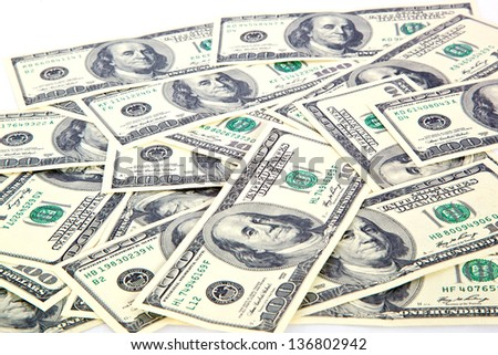 dollar bills on white background - stock photo