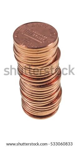 A stack of 1 US cent (penny) coins… Stock Photo 133736621