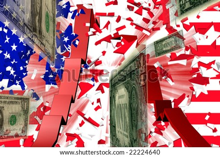 Dollar Crash Stars and Stripes explode and Red 3D Graph and Dollars fly through