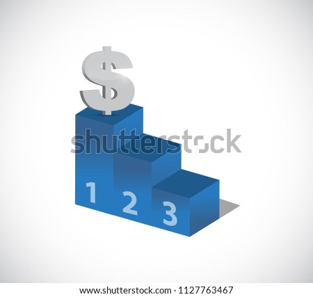 dollar currency in top of the leader podium. bussiness concept illustration. isolated over a white background