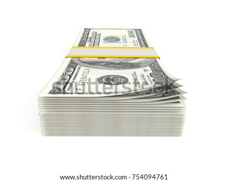 Dollar currency isolated on white background. 3d illustration