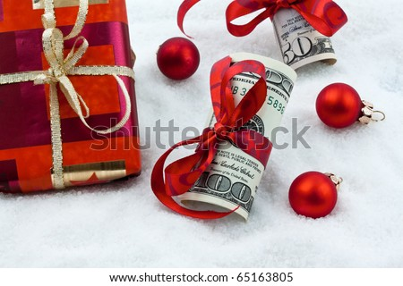 Dollar Currency notes with bow as a gift of money