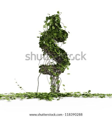 Dollar currency symbol  shaped plant