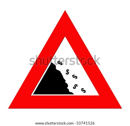 Dollar currency symbols falling off cliff in warning road sign triangle, isolated on white background.