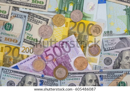 dollar, euro coin on euro background. #605486087