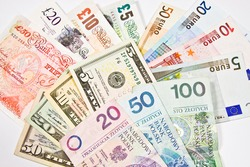 Dollar, Euro, Pound, PLN, Currency of the United States, England, Polish and Euro