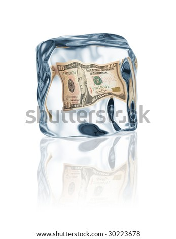 dollar frozen in ice cube, financial crisis concept