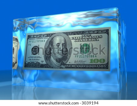Dollar frozen on ice cube