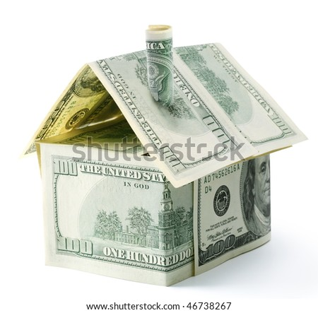 Dollar house isolated over white.