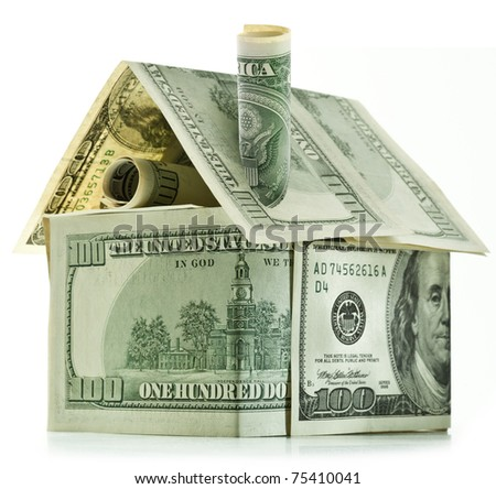 Dollar house isolated over white. - stock photo