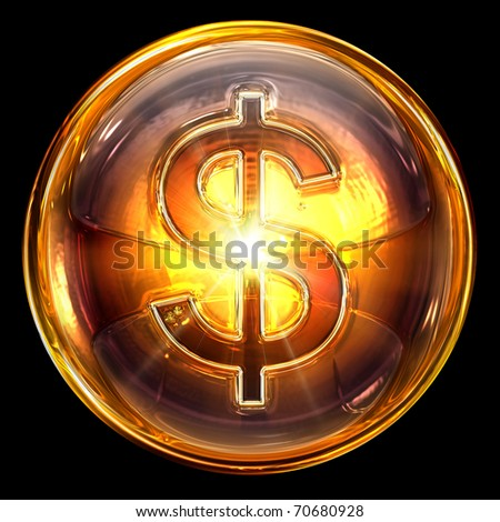 dollar icon fire, isolated on black background.