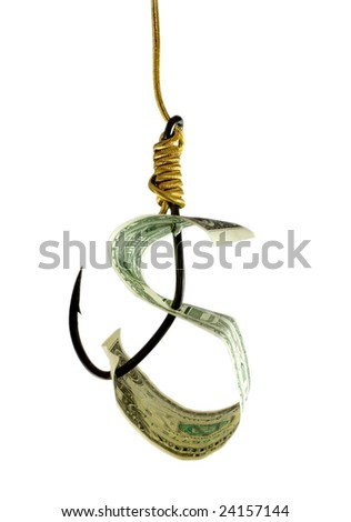 dollar in hook close-up isolated on white background