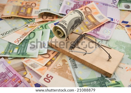 dollar in trap on euro background
