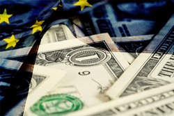 Dollar money and flag of the European Union EU