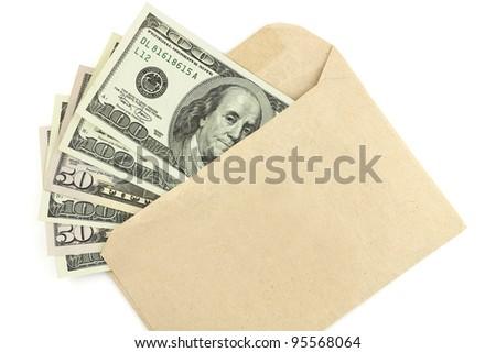 Dollar money banknotes on envelope isolated on white