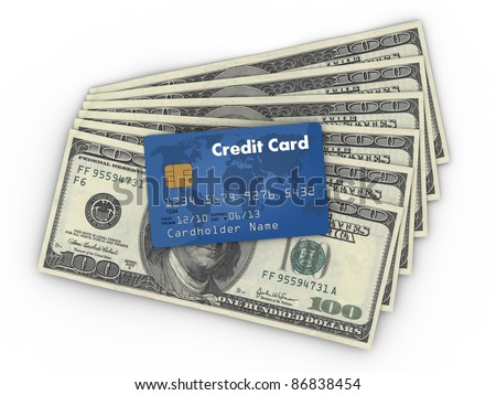 Dollar Money Banknotes with Creditcard