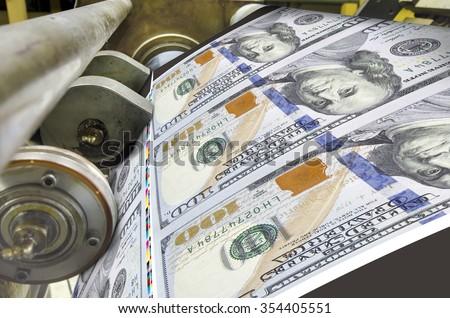 Dollar money offset printing press running