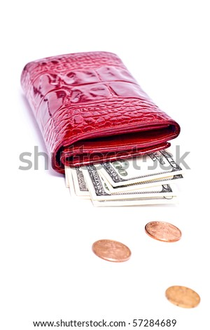 Dollar notes and red wallet isolated on white