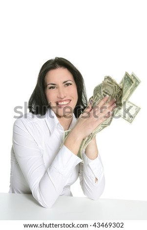 Dollar notes in happy brunette woman hands isolated on white