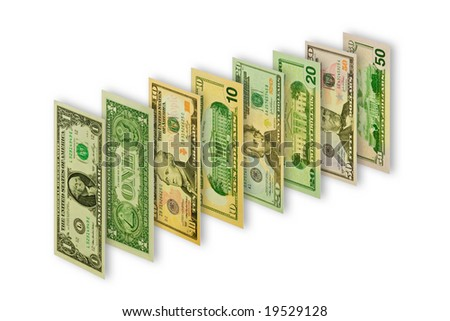 Dollar notes isolated on white
