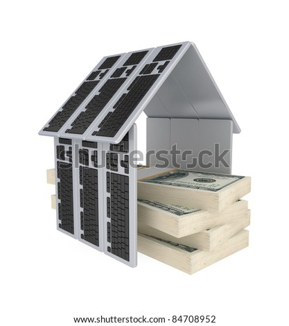 Dollar packs under a roof made of PC keyboards.3d rendered.Isolated on white background.