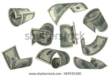 Dollar, Paper Money Set, American Banknote, Flying Money, 3D Render