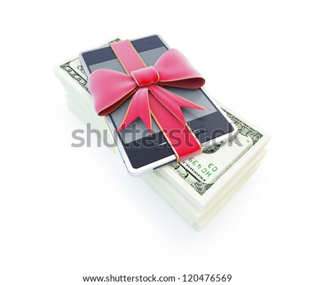 dollar phone gift on a white background