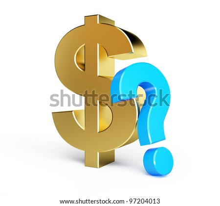dollar question mark isolated on a white background